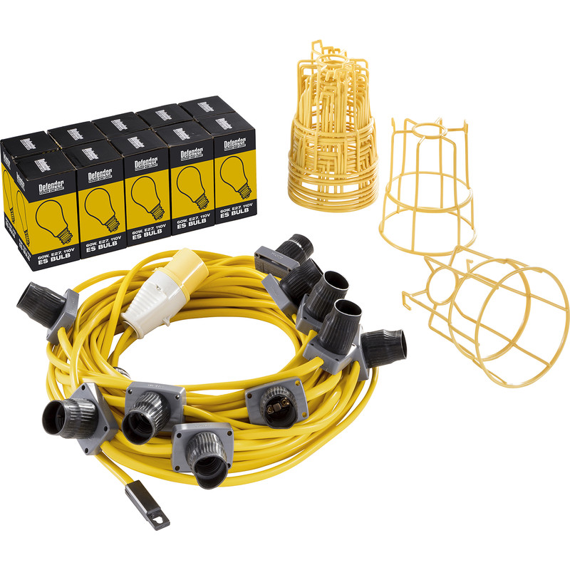 Defender 110V 22m LED Festoon Lighting Set