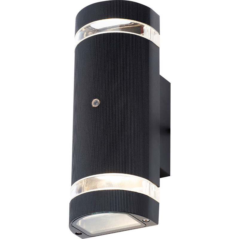 Helios Up and Down Black Dusk to Dawn Photocell Wall Light IP44