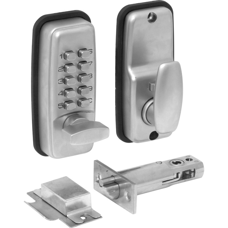 Mini Push-Button Lock with Holdback Satin Chrome