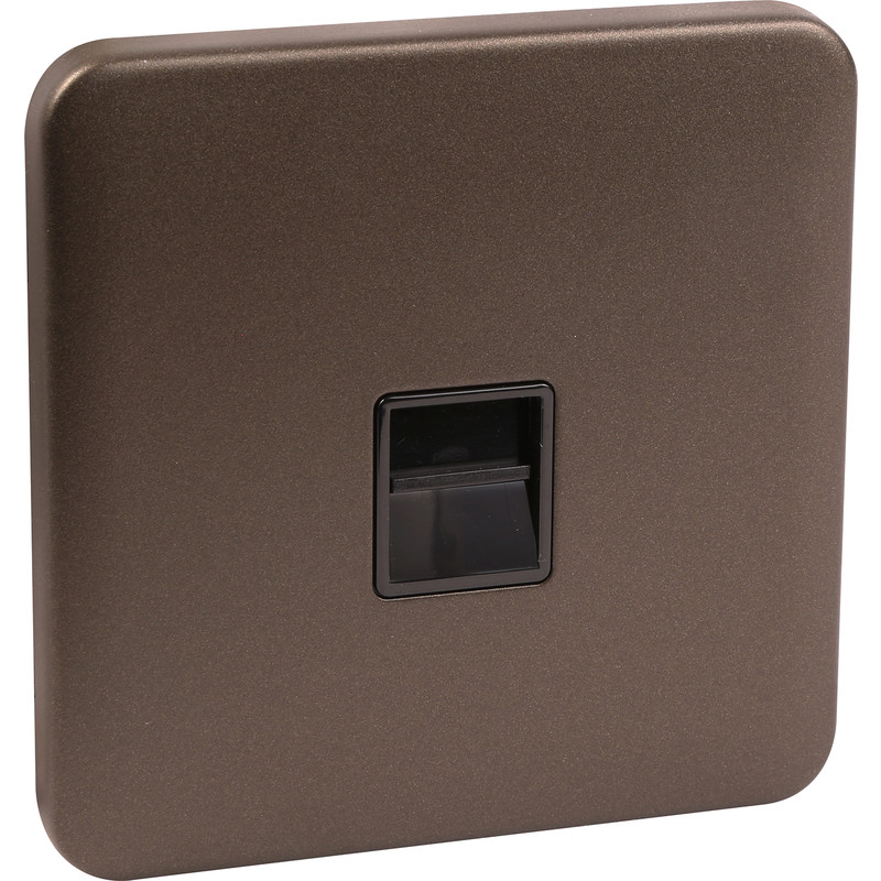 Schneider Lisse Mocha Bronze Screwless Telephone Socket