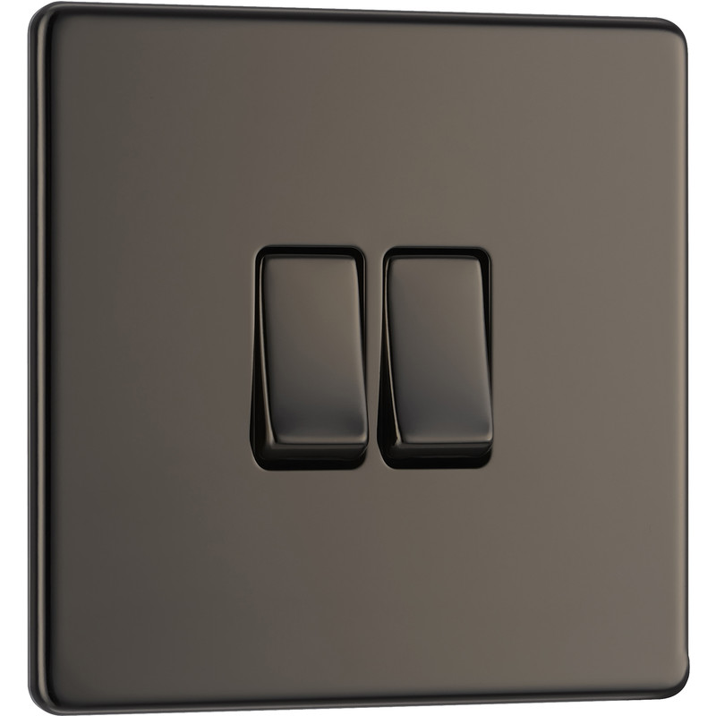 BG Screwless Flat Plate Black Nickel 10AX Light Switch