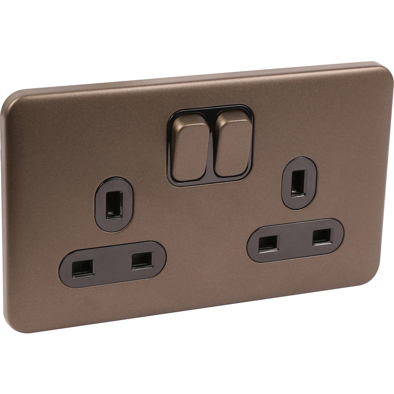 Schneider Lisse Mocha Bronze Screwless 13A DP Switched Socket