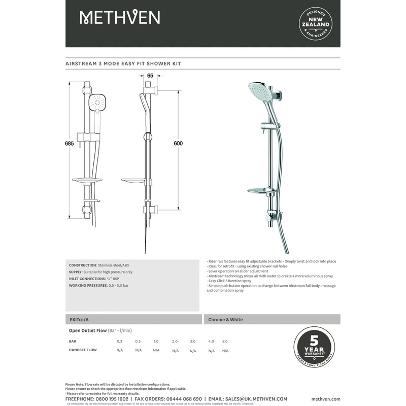 Methven Airstream 3 Mode Easy Fit Shower Kit