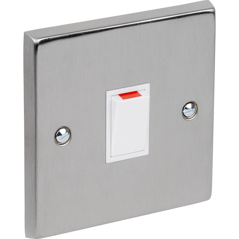 Satin Chrome / White Double Pole Switch 20A