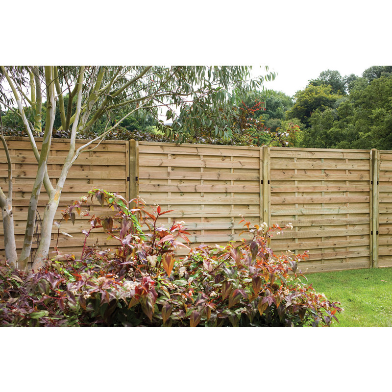 Forest Garden Pressure Treated Horizontal Hit & Miss Fence Panel - 4ft