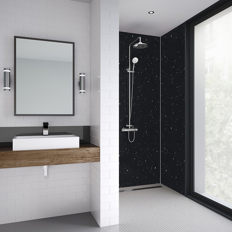 Mermaid Graphite Sparkle Laminate Shower Wall Panel