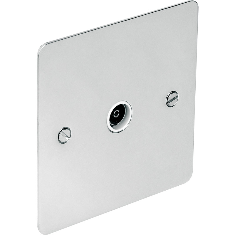 Flat Plate Polished Chrome TV / Satellite Socket