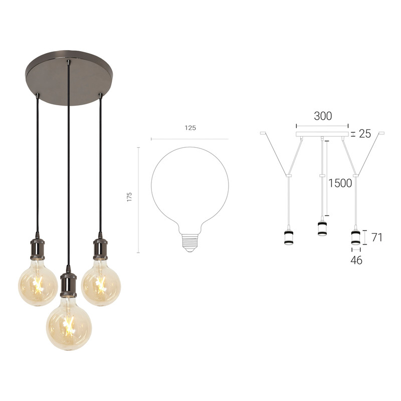 4lite WiZ Connected Decorative 3 Way Circular Pendant Blackened Silver with 3 x 6.5W WiFi Smart LED Globe