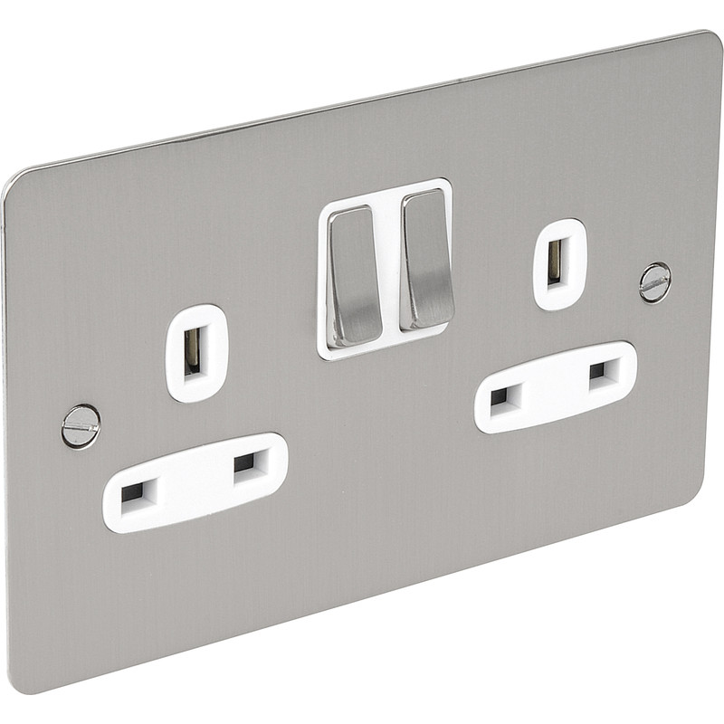 Flat Plate Satin Chrome 13A Socket