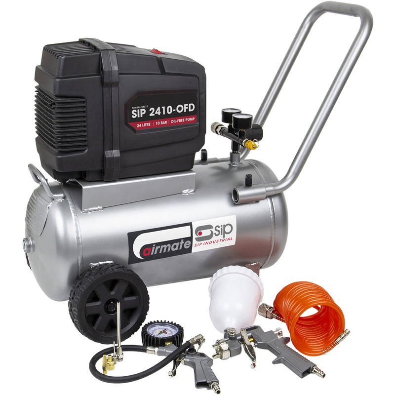 24 Litre Oil Free Compressor & 7 Piece Air Kit