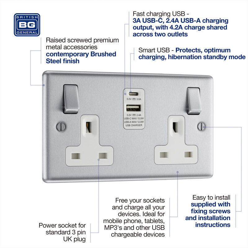 BG Brushed Steel 13A White Insert Switched Socket + A & C Type USB
