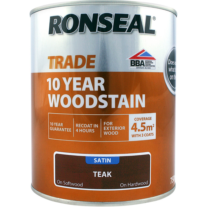 Ronseal 10 Year Exterior Satin Woodstain 750ml