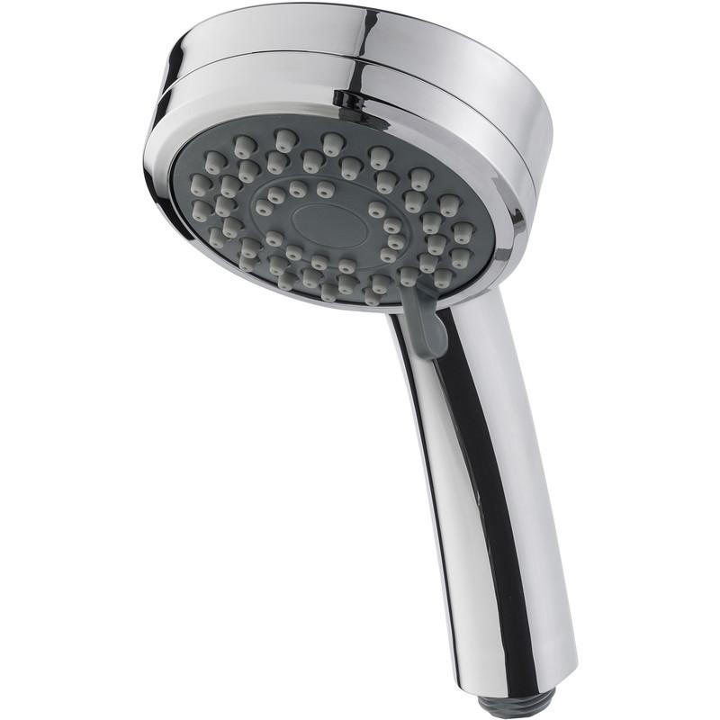 Round universal chrome replacement shower head handset 3 mode push button spray