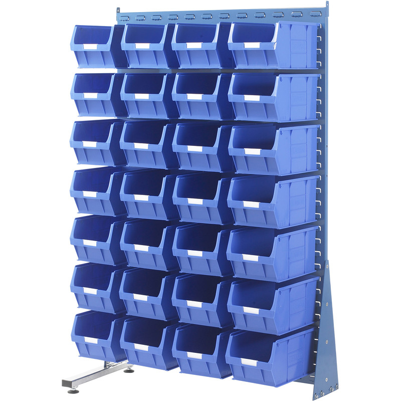 Barton Steel Louvre Panel Adda Stand with Blue Bins 1600 x 1000 x 500mm