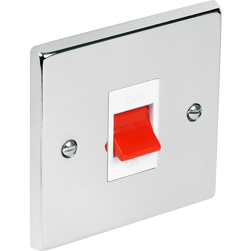 Chrome Double Pole Switch 45A