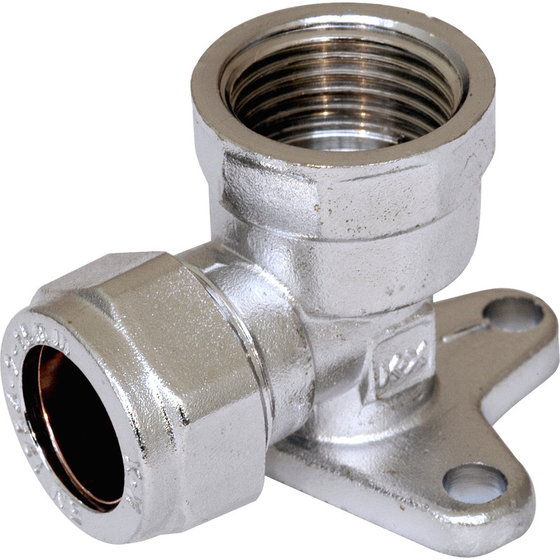 Compression Wall Plate Elbow Chrome Plated
