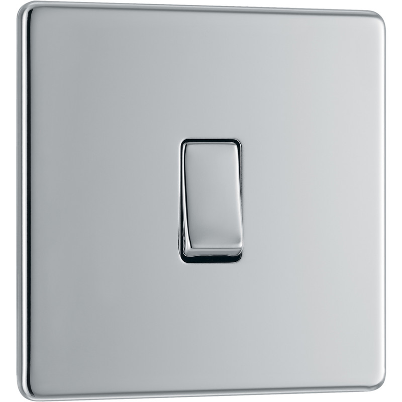 BG Screwless Flat Plate Polished Chrome 10AX Light Switch