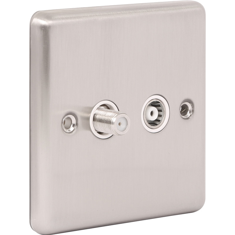 Wessex Brushed Stainless Steel TV Point
