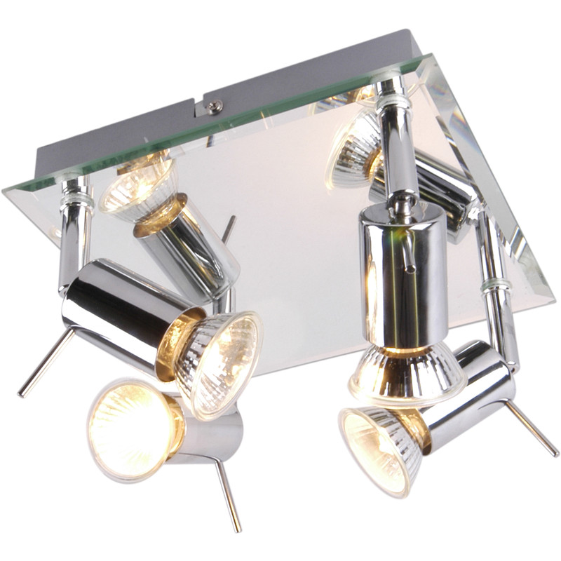 Mercury Mirror Plated GU10 4 Plate Spotlight