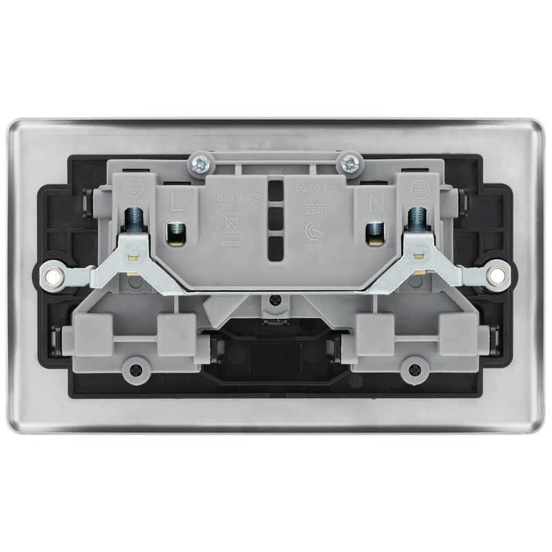 BG Brushed Steel 13A DP Black Insert Switched Socket