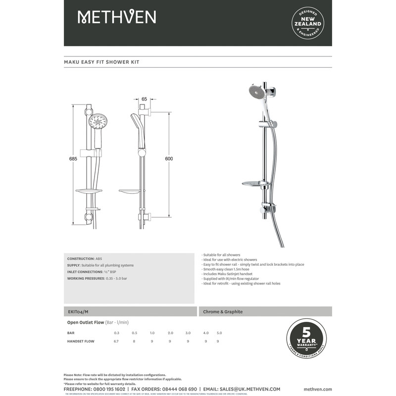 Methven Maku Easy Fit Shower Kit