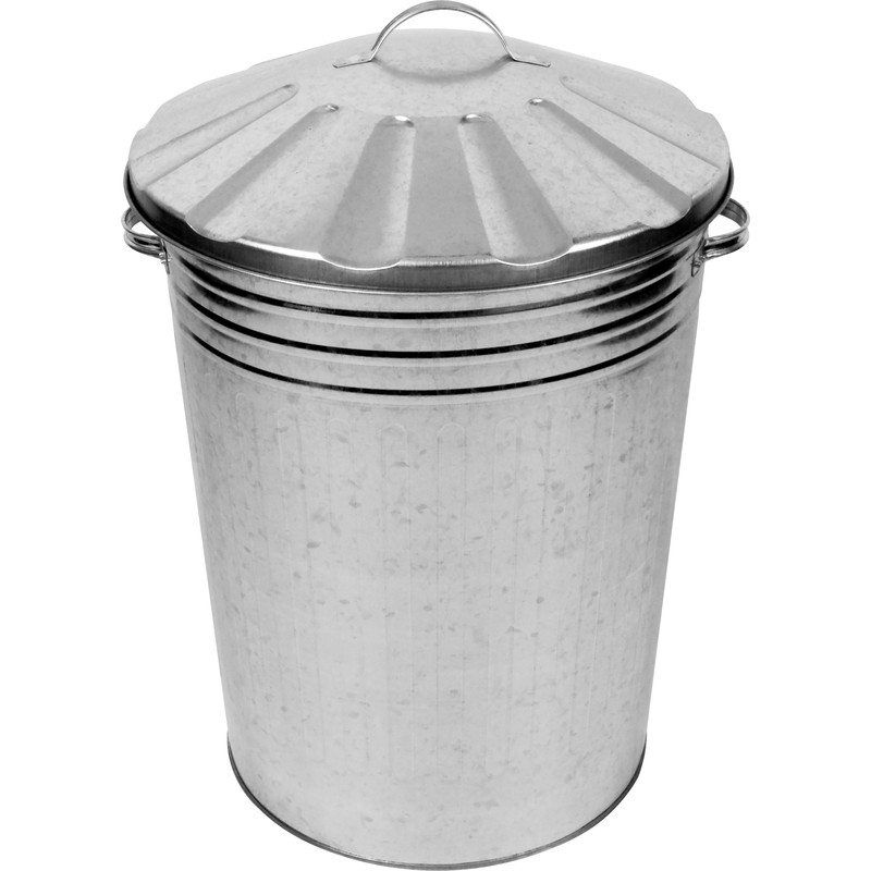 Galvanised Metal Dustbin & Lid