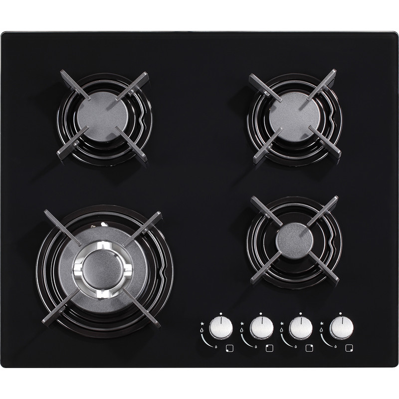 Culina 60cm Black Glass Gas Hob