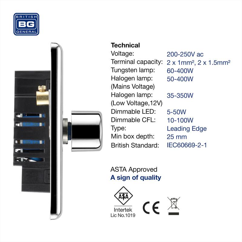 BG Polished Chrome Dimmer Switch