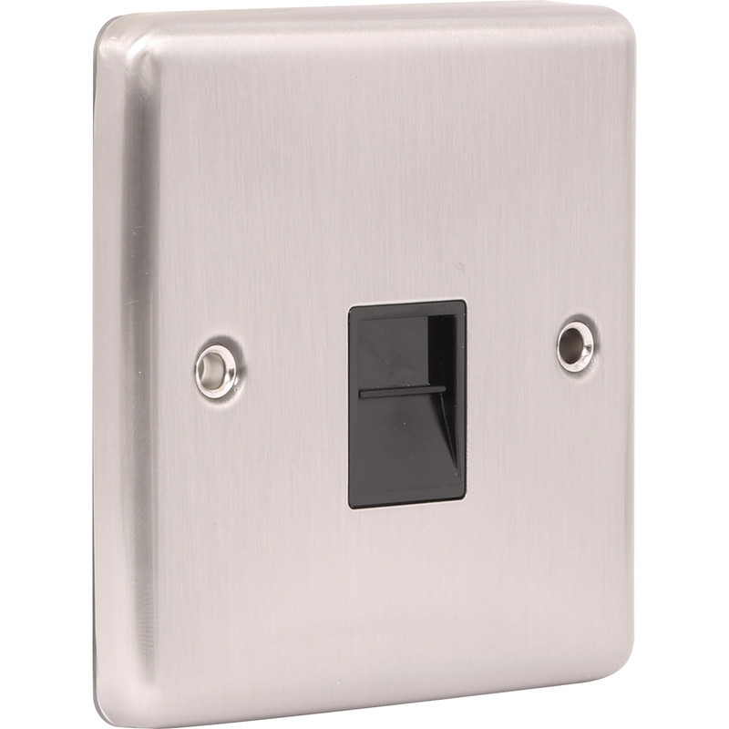 Wessex Brushed Stainless Steel Telephone Socket