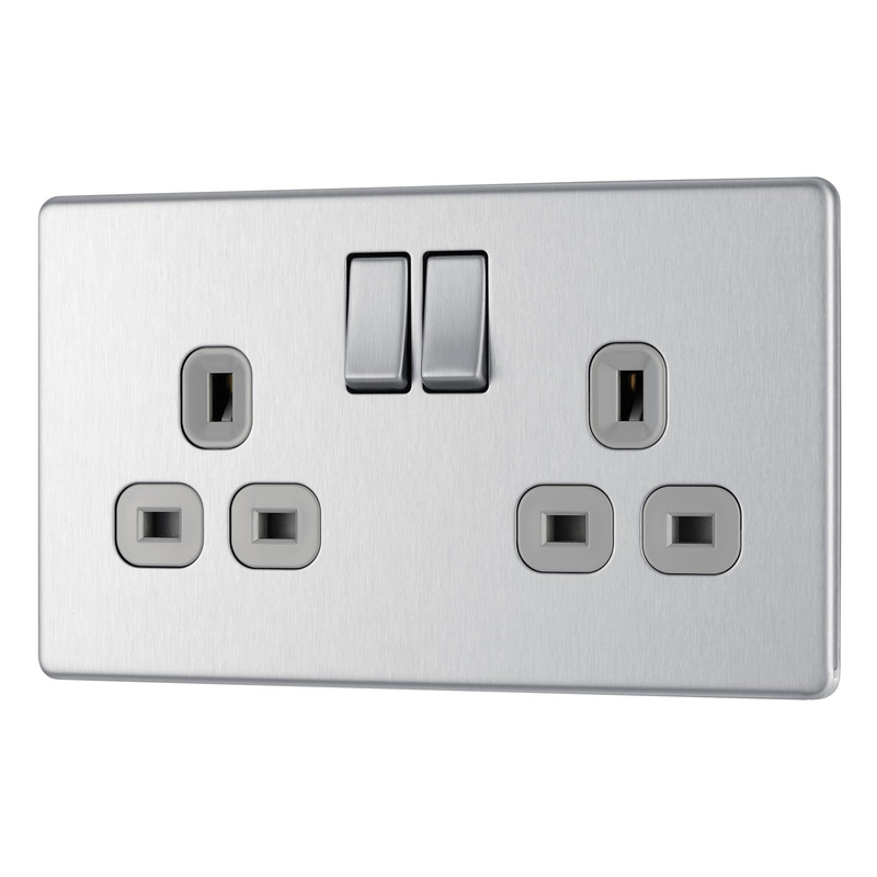 BG Screwless Flat Plate Brushed Stainless Steel 13A DP Switch Socket