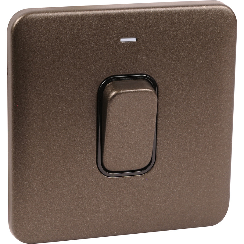 Schneider Lisse Mocha Bronze Screwless 50A DP Switch