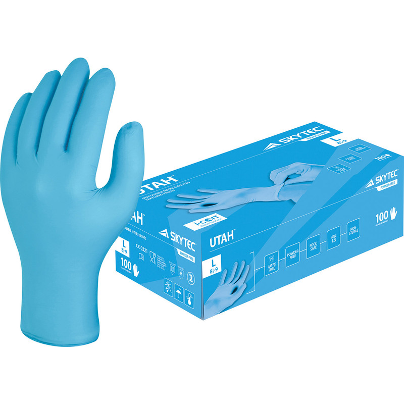 Skytec Utah Performance Powder Free Nitrile Disposable Gloves