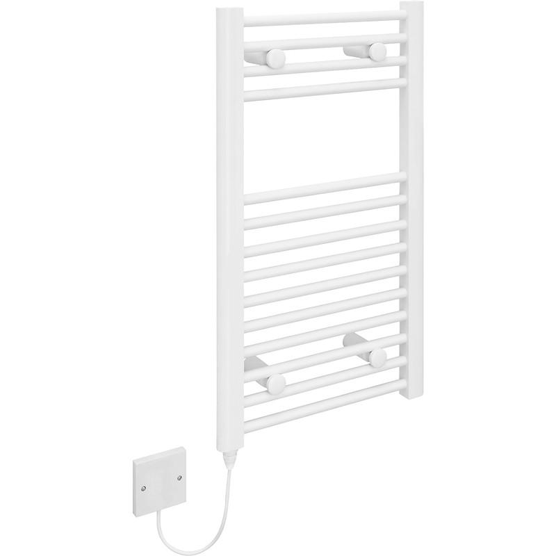Kudox Flat Electric Towel Radiator: Kudox Electric Pre-Filled White Flat Towel Radiator 700 X