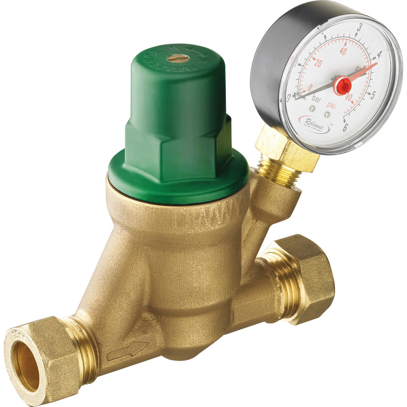Reliance Adjustable Pressure Reducing Valve with Gauge