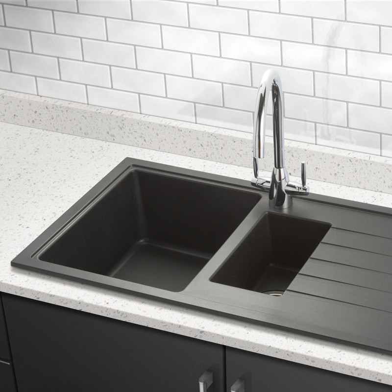 Granite Kitchen Sink: Granite Composite 1 1/2 Bowl Kitchen Sink & Drainer Black