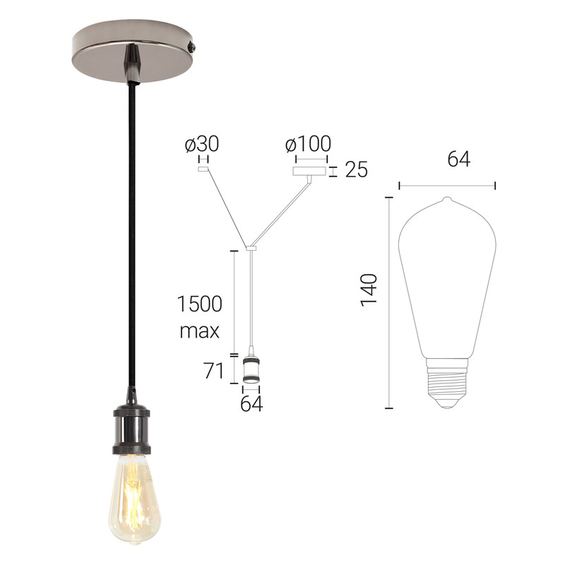 4lite WiZ Connected ST64 6.5W LED Smart WiFi Blackened Silver Pendant