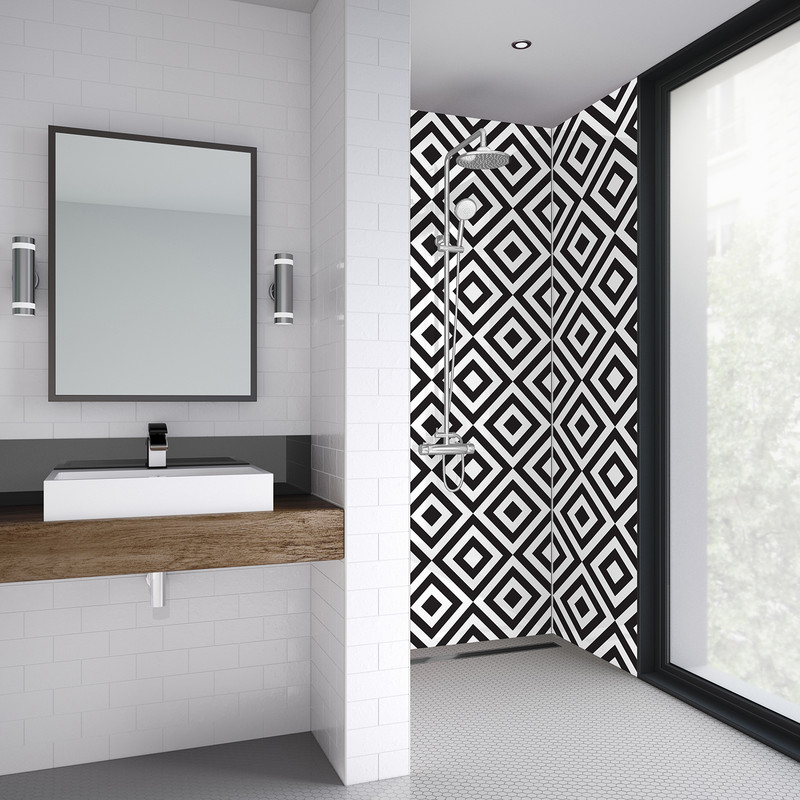 Mermaid Squares Acrylic Shower Wall Panel