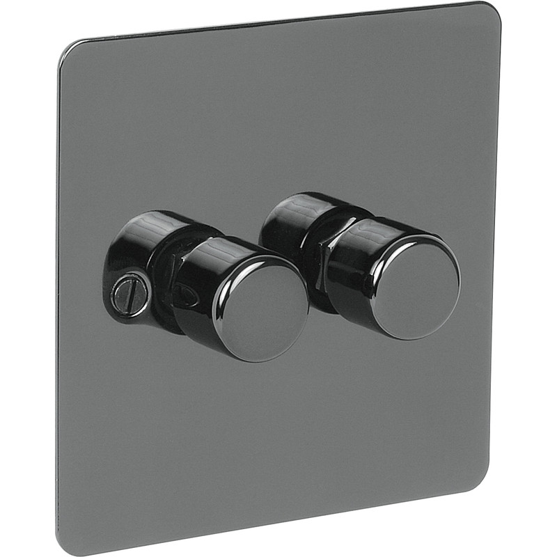 Flat Plate Black Nickel LED Dimmer Switch