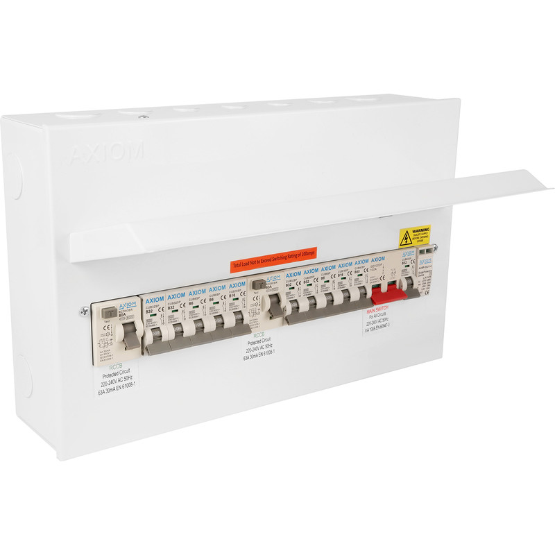 Axiom Metal 18th Edition Dual RCD + 10 MCBs and SPD Consumer Unit