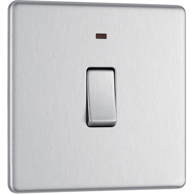 BG Screwless Flat Plate Brushed Stainless Steel 20A DP Switch