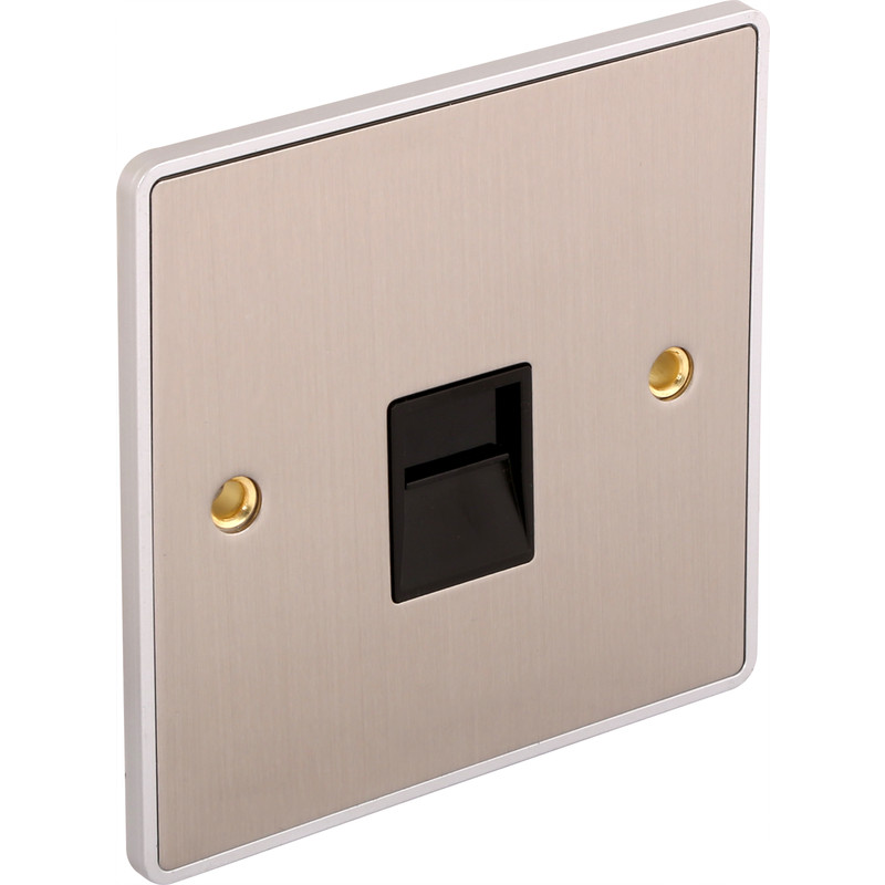 Urban Edge Brushed Chrome Telephone Socket