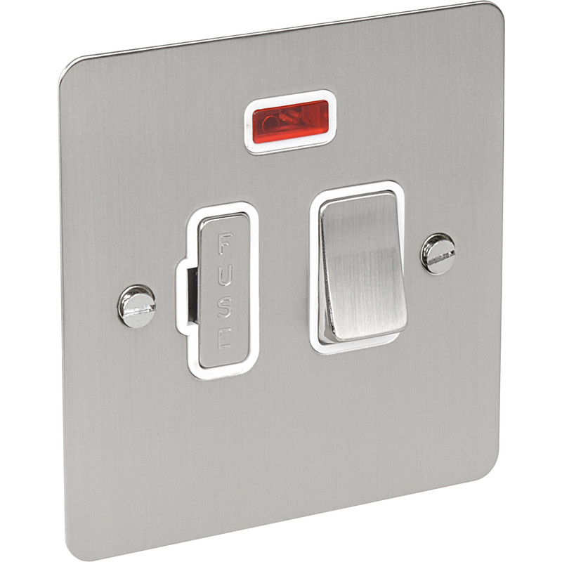 Flat Plate Satin Chrome Fused Spur 13A Switched Neon