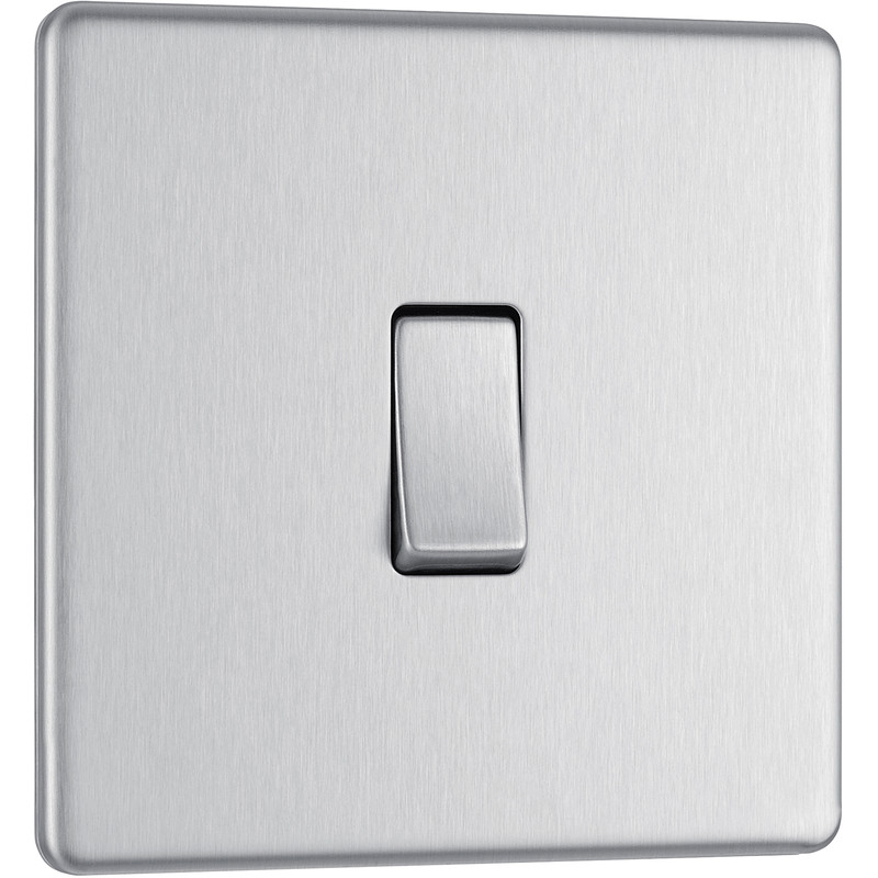 BG Screwless Flat Plate Brushed Stainless Steel 10AX Light Switch