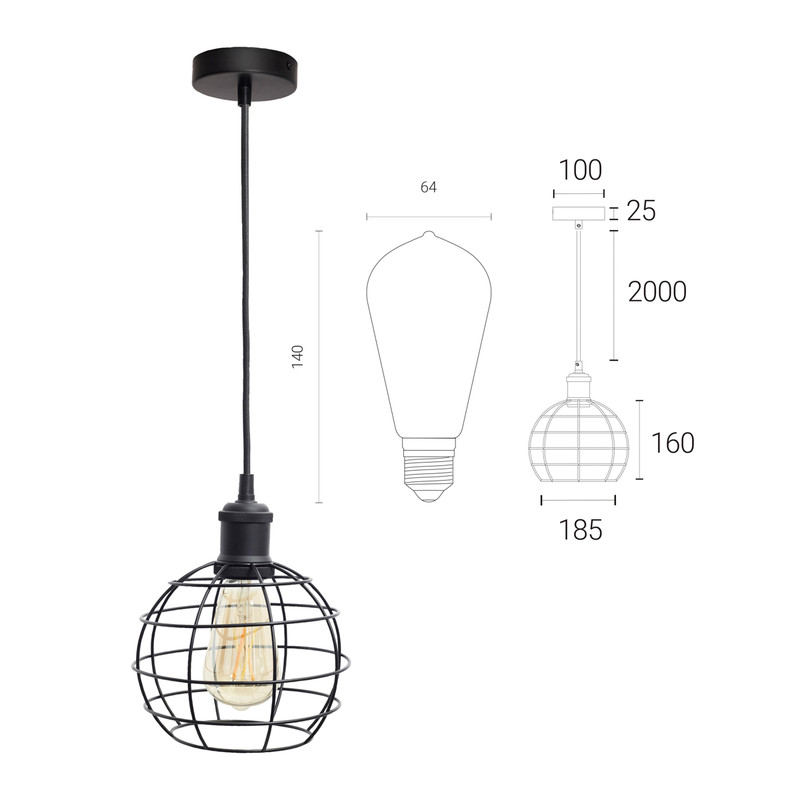 4lite WiZ Connected Decorative Single Black Pendant with Birdcage and ST64 6.5W LED Smart WiFi Bulb