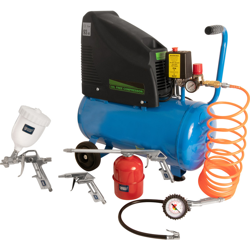 Draper 1.5hp 24L Oil-Free Air Compressor & 5 Piece Air Tool Kit