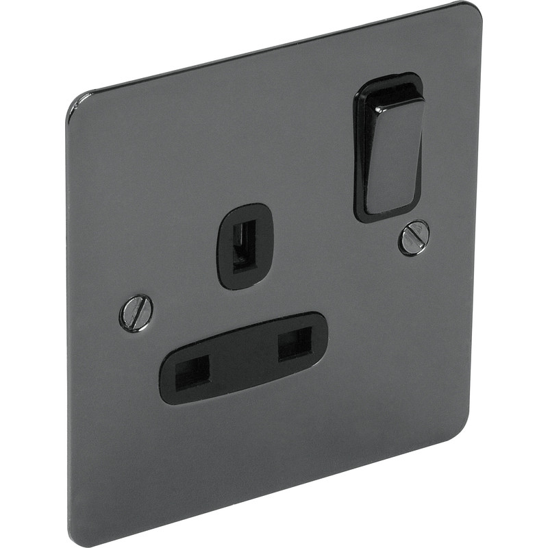 Flat Plate Black Nickel 13A Socket