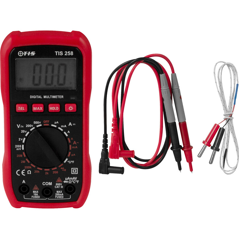 TIS 258 Digital Multimeter With Temperature Probe