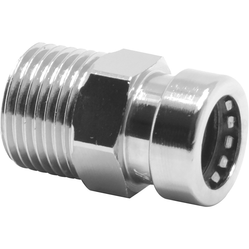 Pegler Yorkshire Tectite Sprint Chrome Push-Fit Straight Male Connector