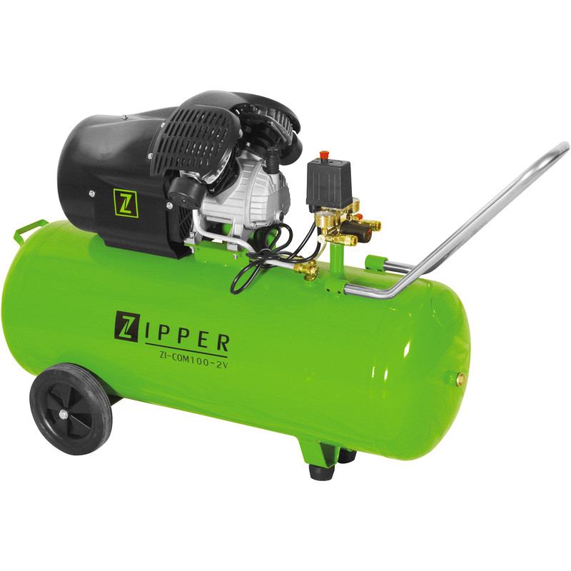 Zipper COM100-2V 100L 3.0 HP Pro Twin Cylinder Air Compressor - 8 bar