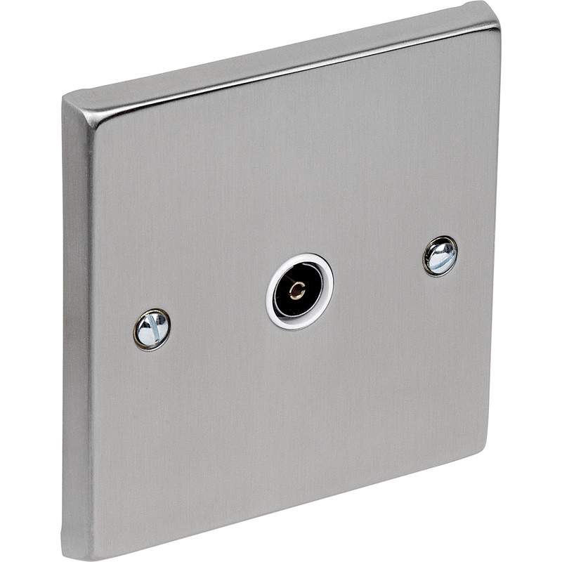 Satin Chrome / White TV / Satellite Socket Outlet